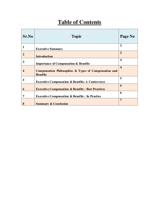 Table of Contents Sr.No 1 2 3  Topic  Page No 2  Executive Summary 2 Introduction 4 Importance of Compensation & Benefits ...
