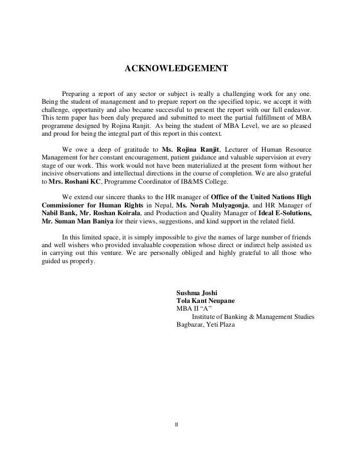 term paper acknowledgement format