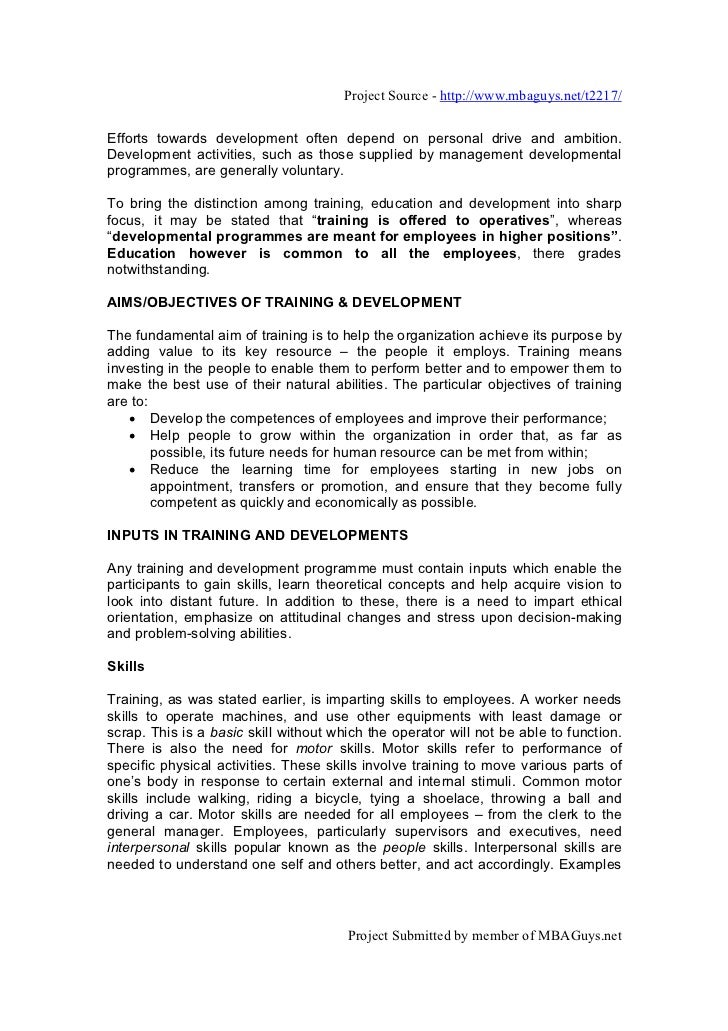 Training and development essay questions