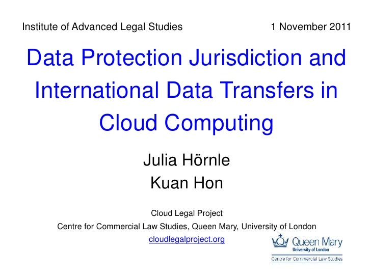 Data Protection Jurisdiction and International Transfers in Cloud Computing