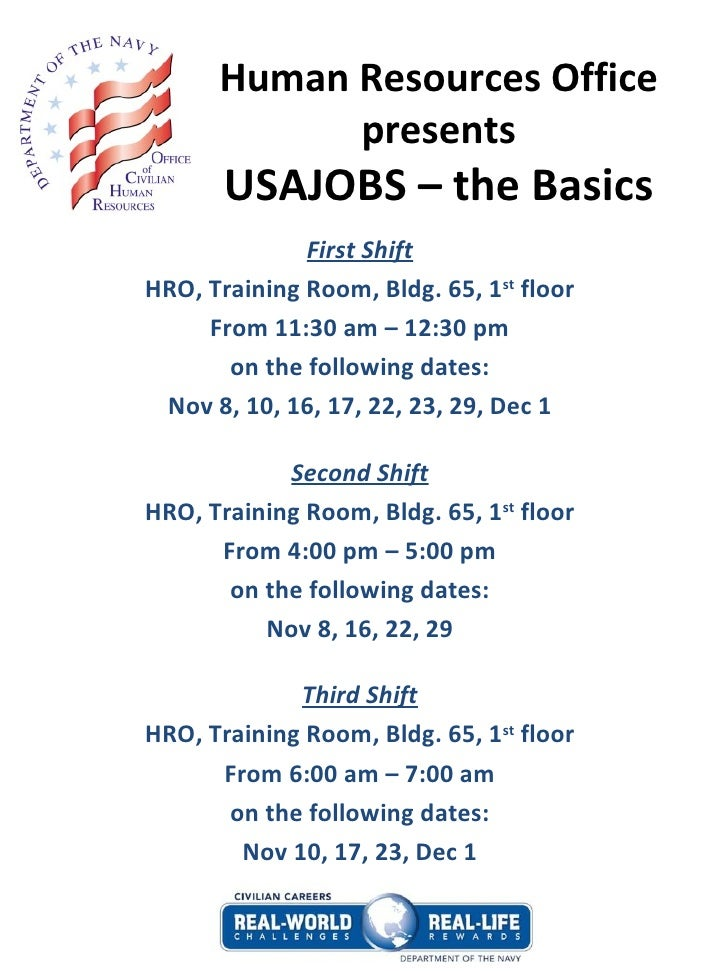 Human Resources Office presents USAJOBS – the Basics First Shift HRO ...