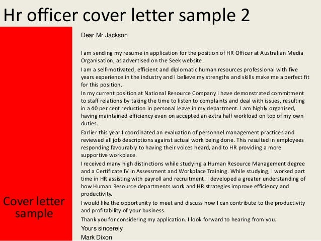 Hr Officer Cover Letter