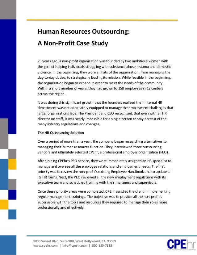 Human Resources Outsourcing Case Study