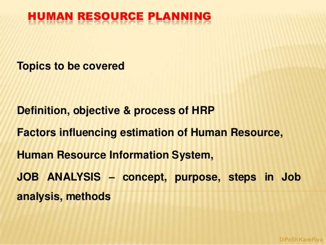 HUMAN RESOURCE PLANNING Topics to be covered Definition, objective & process of HRP Factors influencing estimation of Huma...
