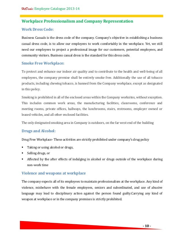 employee guidelines template - employee dress code policy template