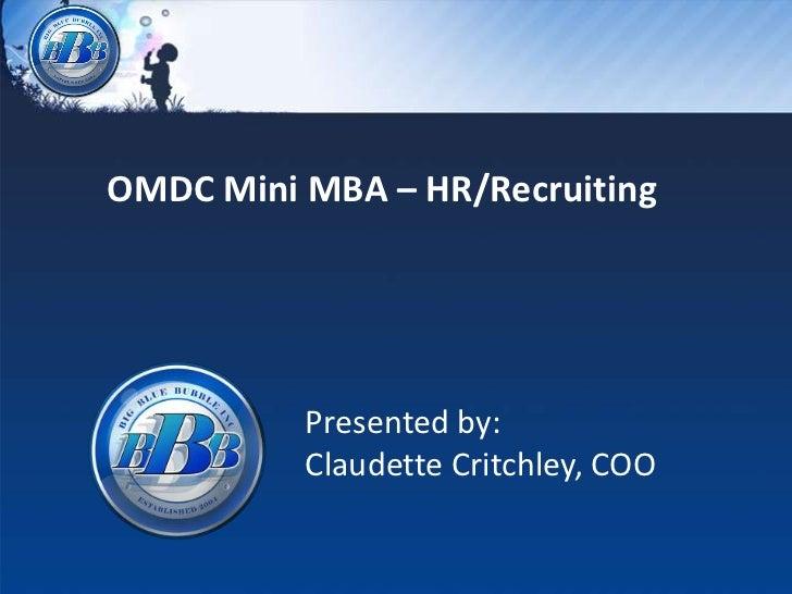 OMDC Mini MBA - HR/Recruiting