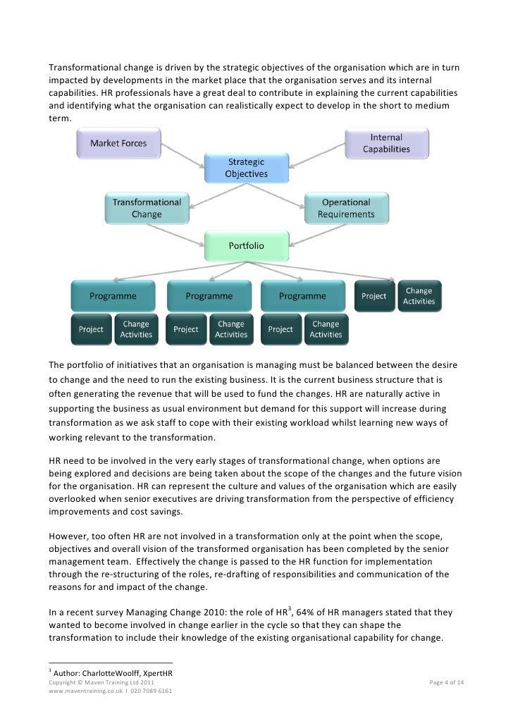 transforming an organization essay