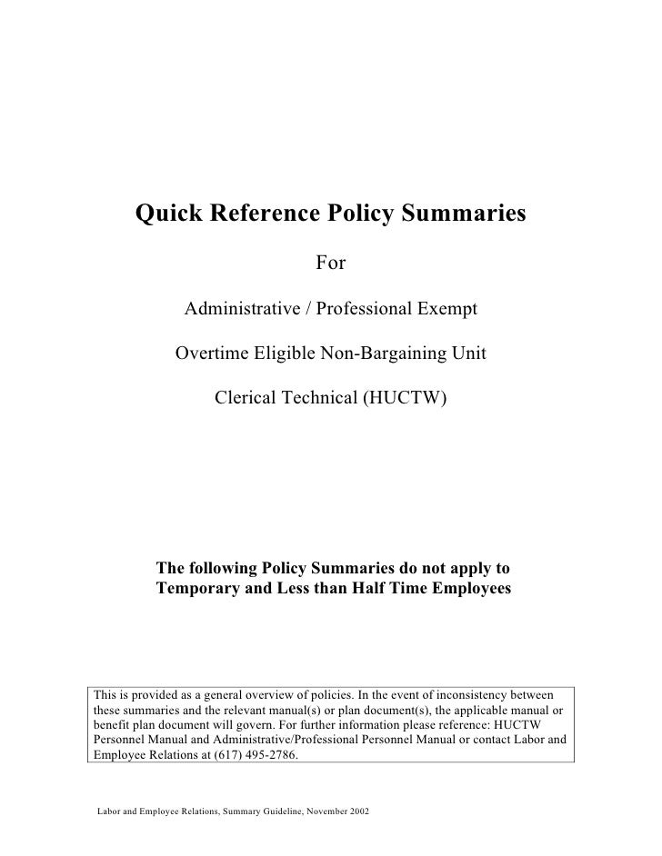 Quick Reference Policy Summaries                                                  For                     Administrative /...