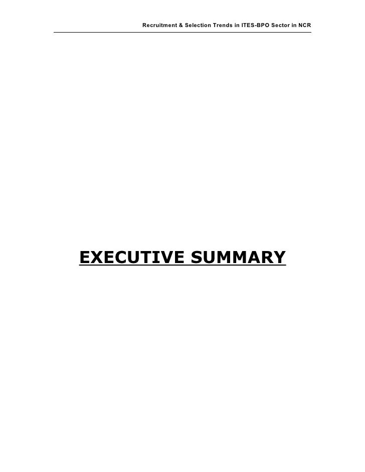 Recruitment & Selection Trends in ITES-BPO Sector in NCREXECUTIVE SUMMARY                                                 ...