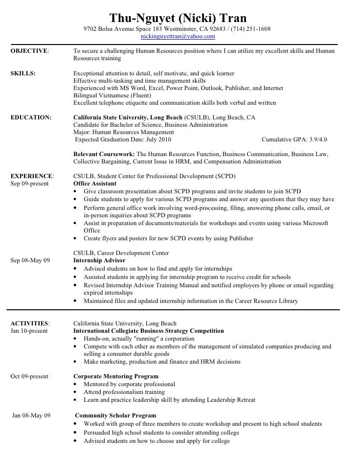 Resume For Internship Hr HR Resume. Thu-Nguyet (Nicki) Tran 9702 Bolsa Avenue Space 183 Westminster, ...