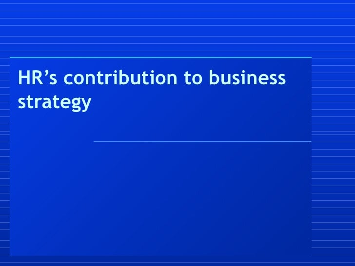 H Rs Contribution To Business