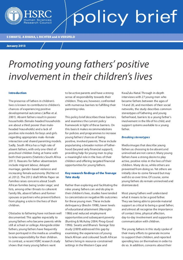 Promoting young fathers' positive involvement in their children's lives