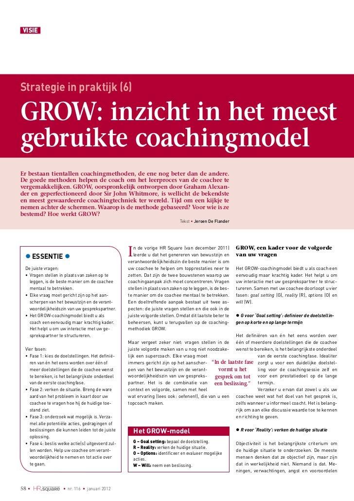VISIEStrategie in praktijk (6)GROW: inzicht in het meestgebruikte coachingmodelEr bestaan tientallen coachingmethoden, de ...