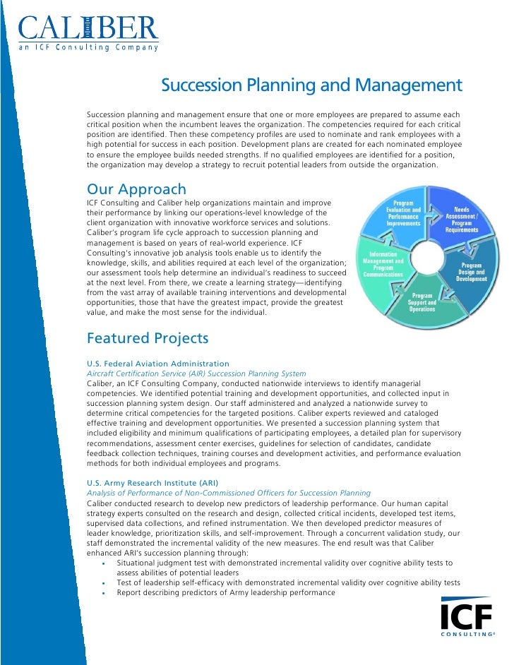 Succession Planning and Management Succession planning and management ensure that one or more employees are prepared to as...