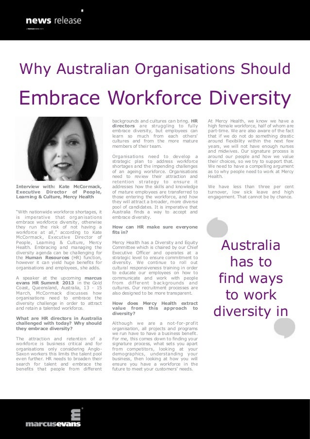 Why Australian Organisations Should Embrace Workforce Diversity: Interview with: Kate McCormack, Executive Director of People, Learning & Culture, Mercy Health