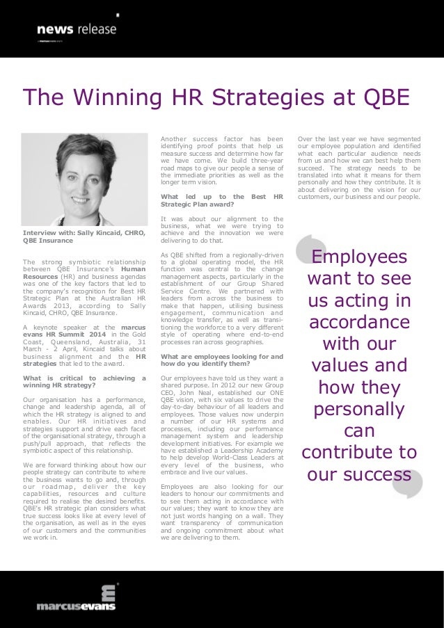 The Winning HR Strategies at QBE Another success factor has been identifying proof points that help us measure success and...