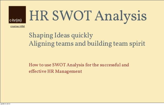 creative HRM HR SWOT Analysis Shaping Ideas quickly Aligning teams and building team spirit How to use SWOT Analysis for t...