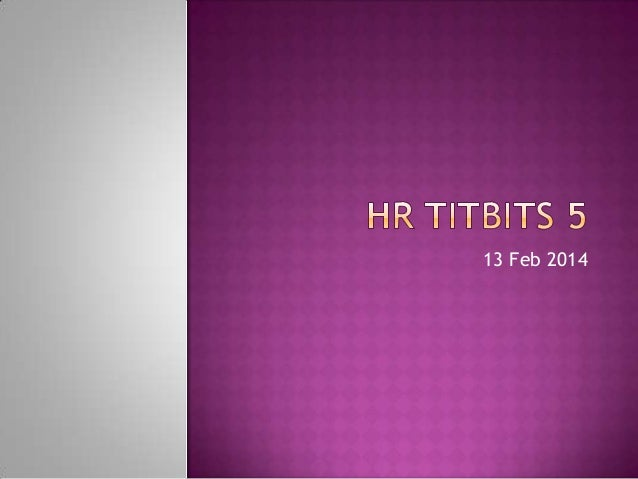Hr Titbits 5