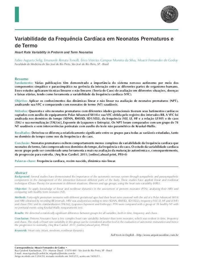 Variabilidade da Frequência Cardíaca em Neonatos Prematuros ede TermoHeart Rate Variability in Preterm and Term NeonatesFa...
