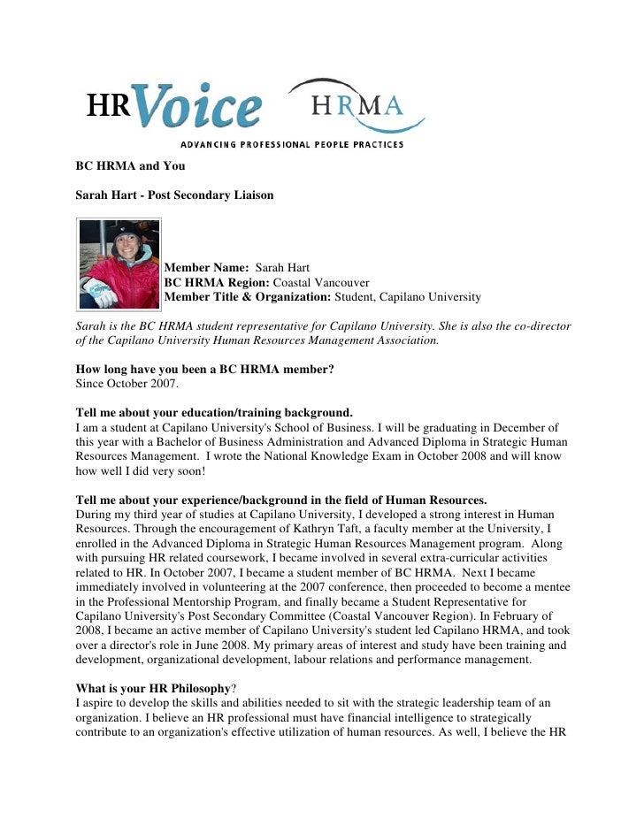 BC HRMA and You  Sarah Hart - Post Secondary Liaison                      Member Name: Sarah Hart                  BC HRMA...