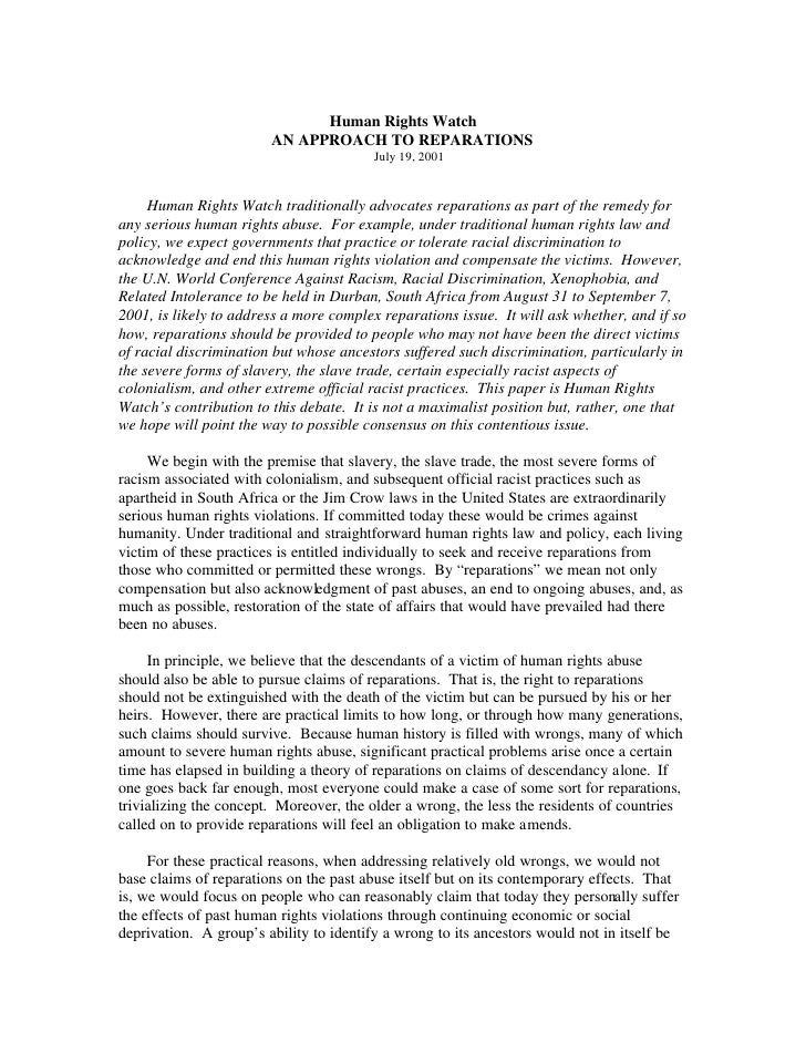 Human Rights Watch  Paper On  Reparations  July 2001