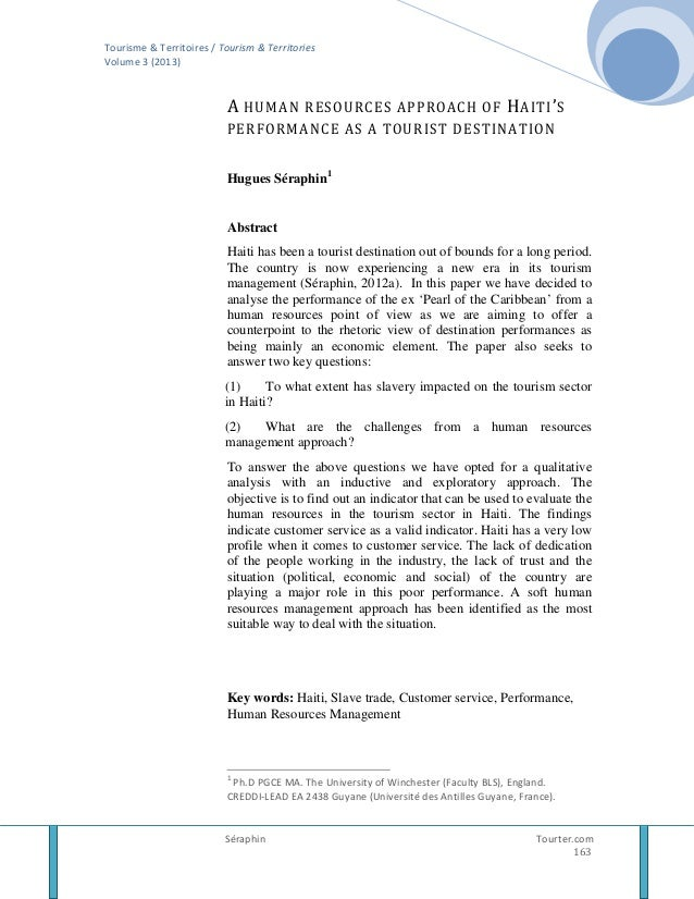 Tourisme & Territoires / Tourism & Territories Volume 3 (2013)  A HUMAN RESOURCES APPROACH OF H AITI ' S PERFORMANCE AS A ...