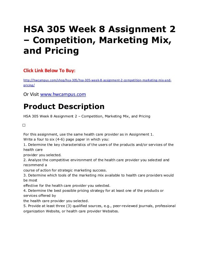Assignment on marketing mix