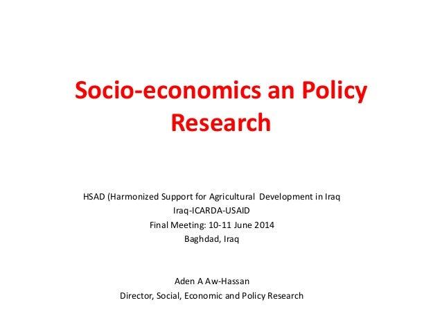 HSAD Socio-economics and policy research