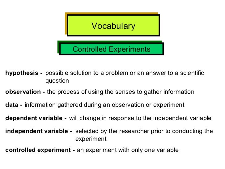 Vocabulary Controlled Experiments hypothesis -   possible solution to a problem or an answer to a scientific  question obs...