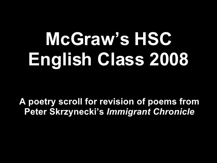 McGraw's HSC English Class 2008 A poetry scroll for revision of poems from Peter Skrzynecki's  Immigrant Chronicle