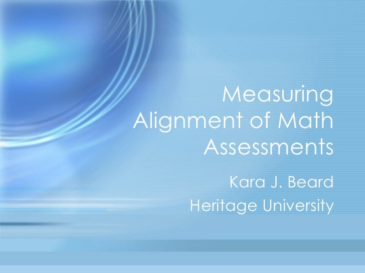Measuring Alignment of Math Assessments Kara J. Beard Heritage University