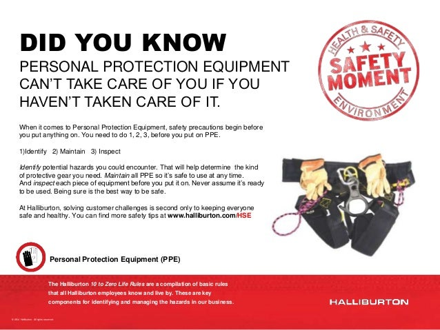 Safety Moment Personal Protection Equipment