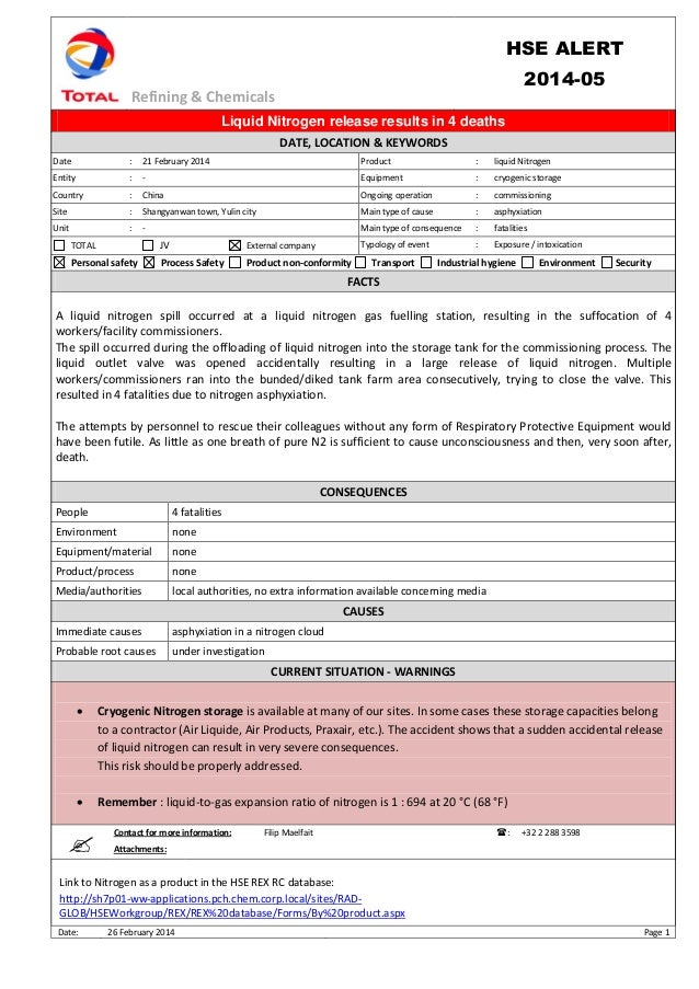 Refining & Chemicals HSE ALERT 2014-05 Date: 26 February 2014 Page 1 Liquid Nitrogen release results in 4 deaths DATE, LOC...