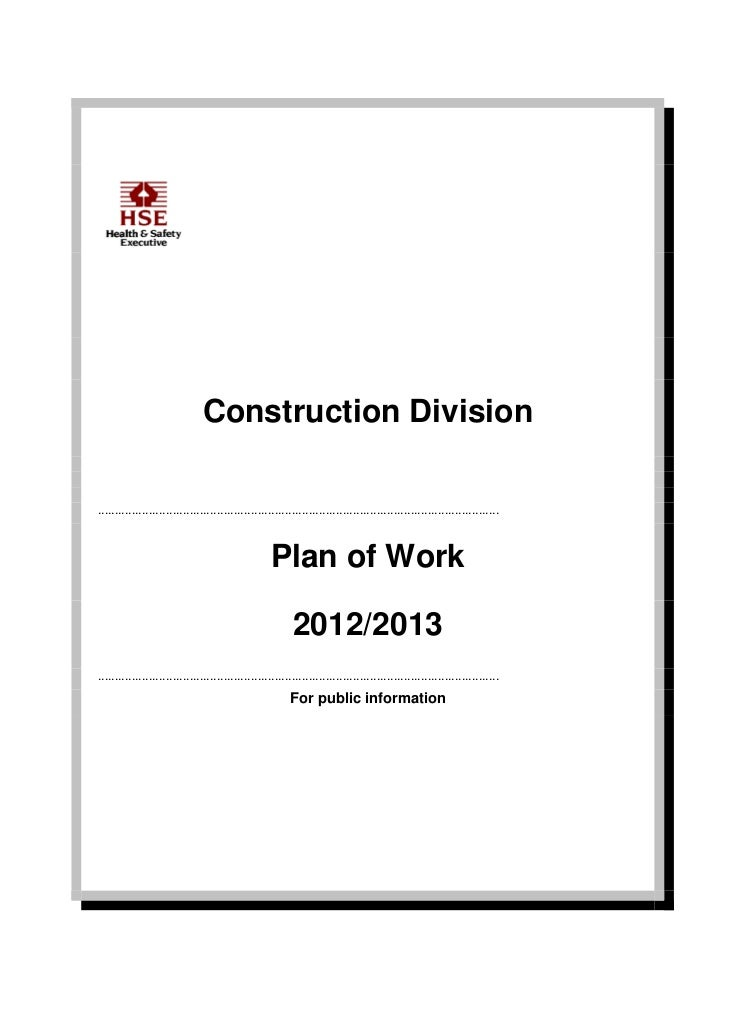 HSE Construction Division Plan Of Work 2012 2013