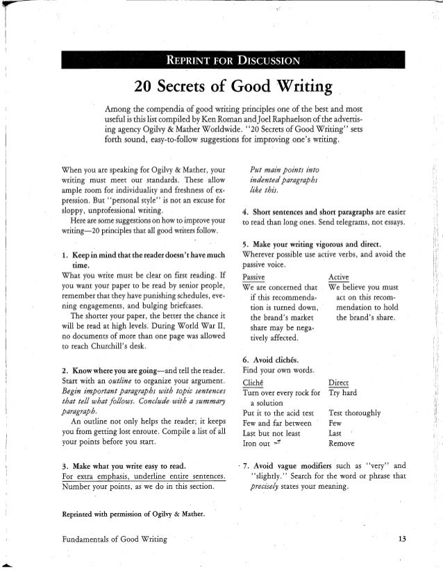 The secrets of good writing for business - Ogilvy & Mather