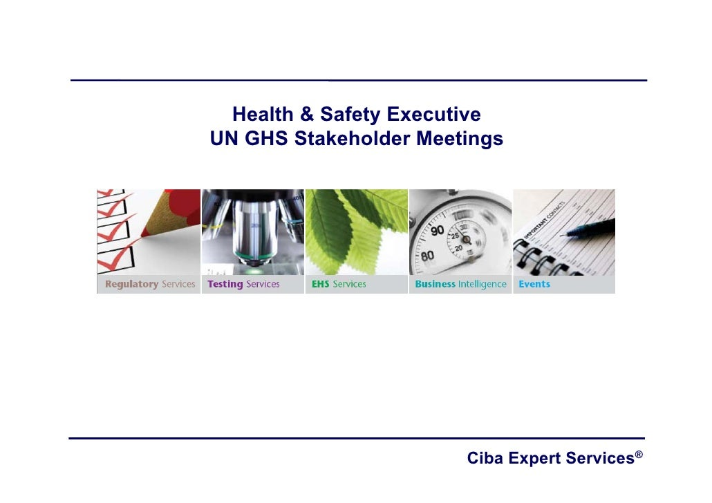 Health & Safety Executive UN GHS Stakeholder Meetings                            Ciba Expert Services®