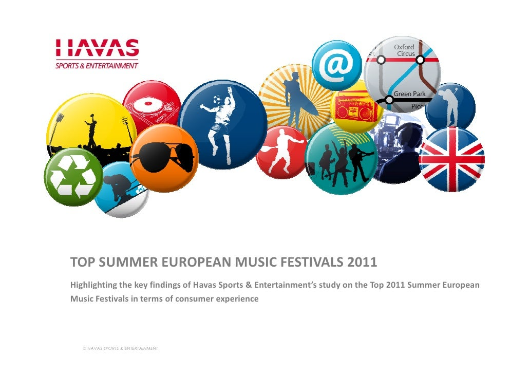 TOP SUMMER EUROPEAN MUSIC FESTIVALS 2011Highlighting the key findings of Havas Sports & Entertainment's study on the Top 2...