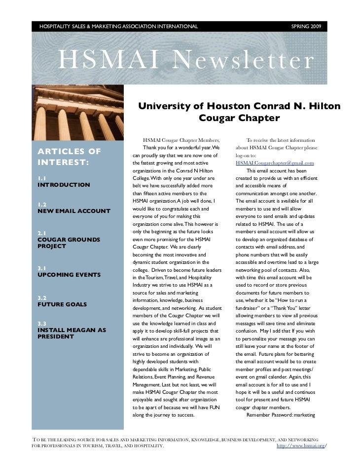 Hsmai newsletter cougar chapter