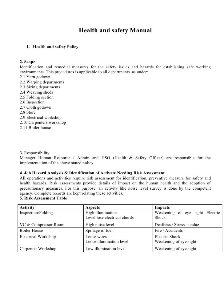 Health and safety Manual   1. Health and safety Policy2. ScopeIdentification and remedial measures for the safety issues a...