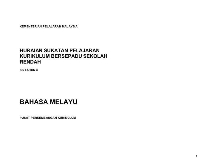KEMENTERIAN PELAJARAN MALAYSIAHURAIAN SUKATAN PELAJARANKURIKULUM BERSEPADU SEKOLAHRENDAHSK TAHUN 3BAHASA MELAYUPUSAT PERKE...