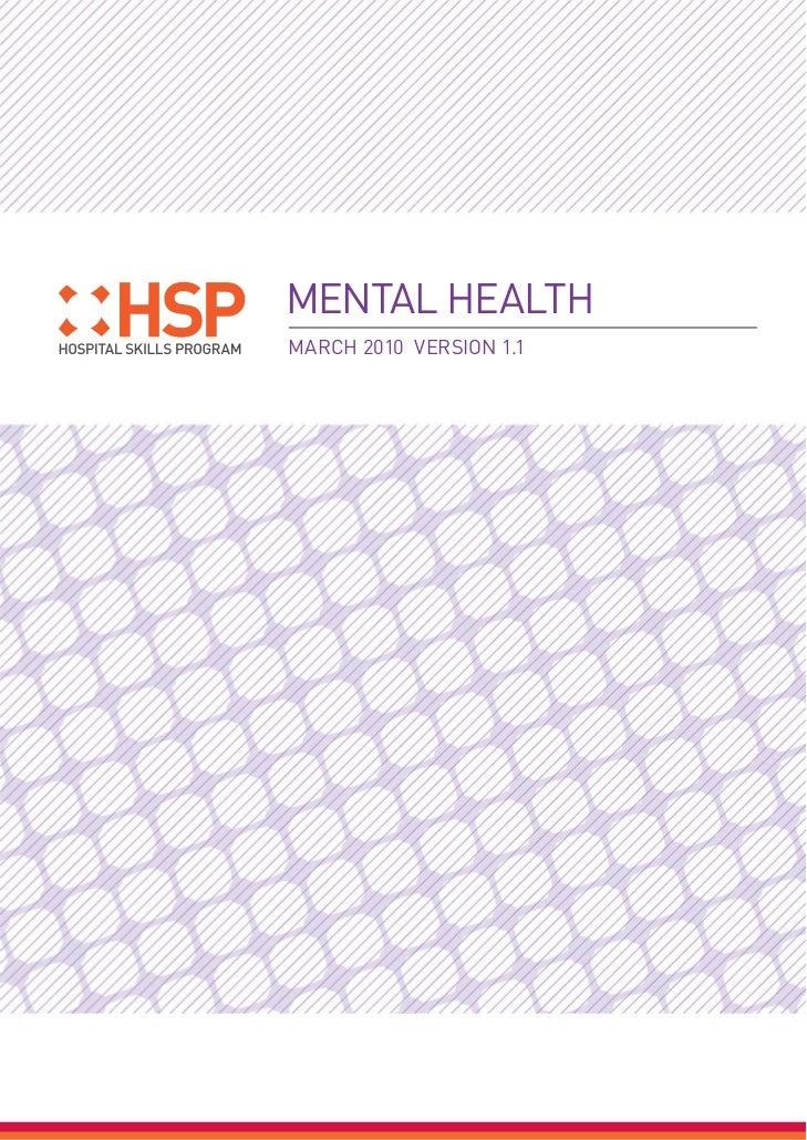MENTAL HEALTHMARCH 2010 VERSION 1.1