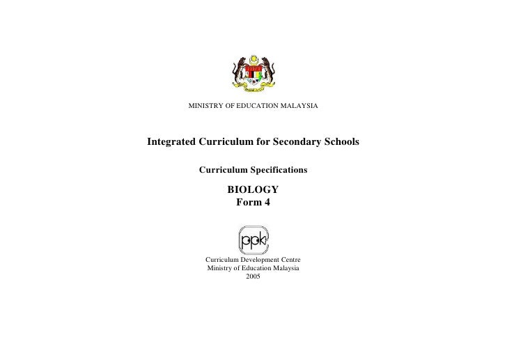 MINISTRY OF EDUCATION MALAYSIA     Integrated Curriculum for Secondary Schools            Curriculum Specifications       ...