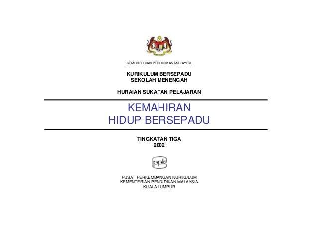 KEMENTERIAN PENDIDIKAN MALAYSIA KURIKULUM BERSEPADU SEKOLAH MENENGAH HURAIAN SUKATAN PELAJARAN KEMAHIRAN HIDUP BERSEPADU T...