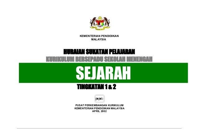 PUSAT PERKEMBANGAN KURIKULUM KEMENTERIAN PENDIDIKAN MALAYSIA APRIL 2002 KEMENTERIAN PENDIDIKAN MALAYSIA HURAIAN SUKATAN PE...