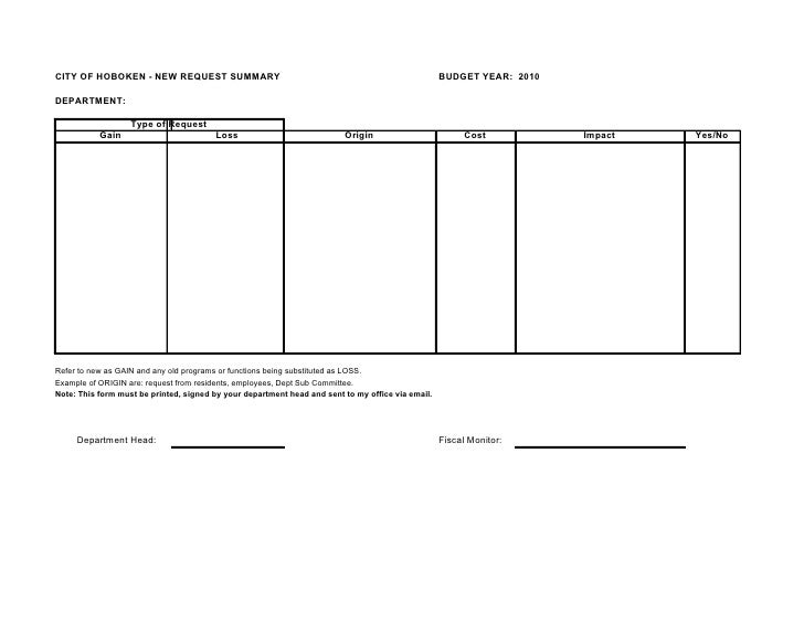 CITY OF HOBOKEN - NEW REQUEST SUMMARY                                                              BUDGET YEAR: 2010  DEPA...