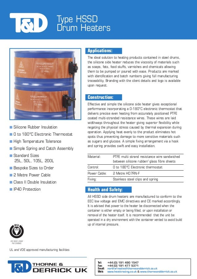 HSSD Silicone Band Side Drum Heater, Drum Heating - Spec Sheet
