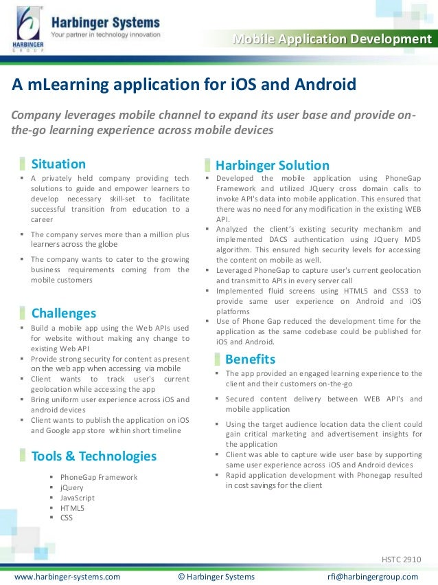 A mLearning application for iOS and Android