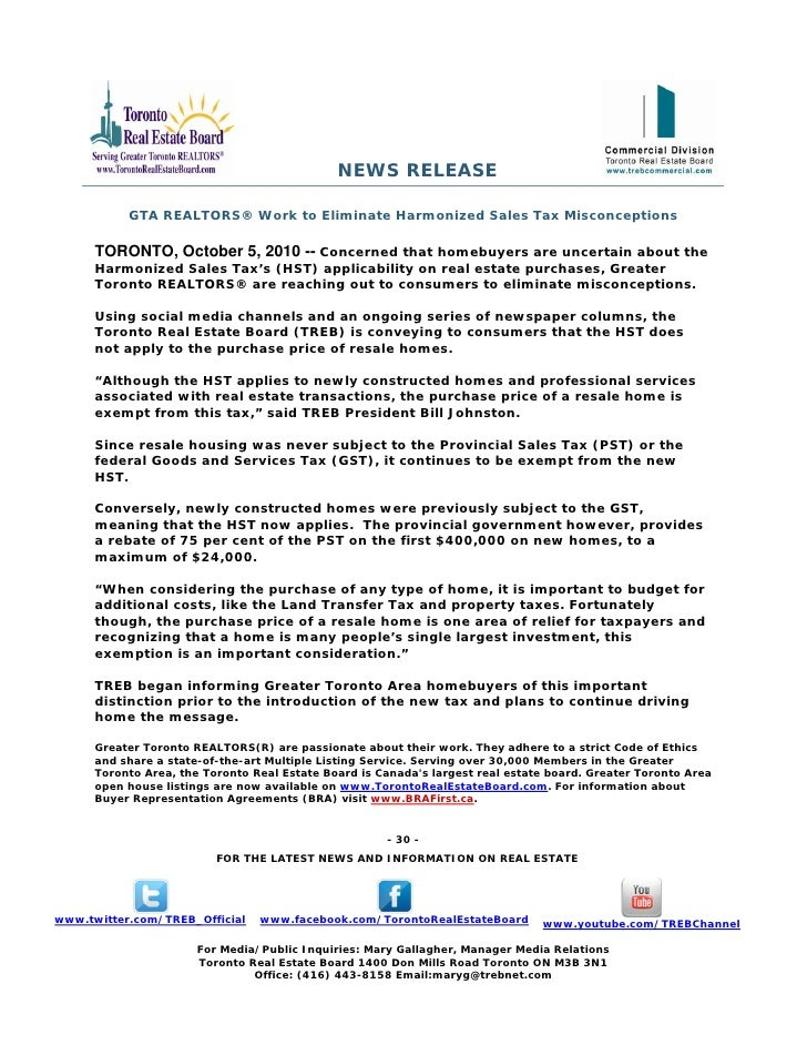 NEWS RELEASE           GTA REALTORS® Work to Eliminate Harmonized Sales Tax Misconceptions      TORONTO, October 5, 2010 -...