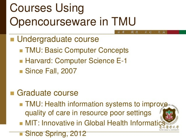 university opencourseware The courses on this site are categorized in terms of the academic disciplines in which university offers its academic programs the site currently includes sample courses and more courses will be added to the site with time.
