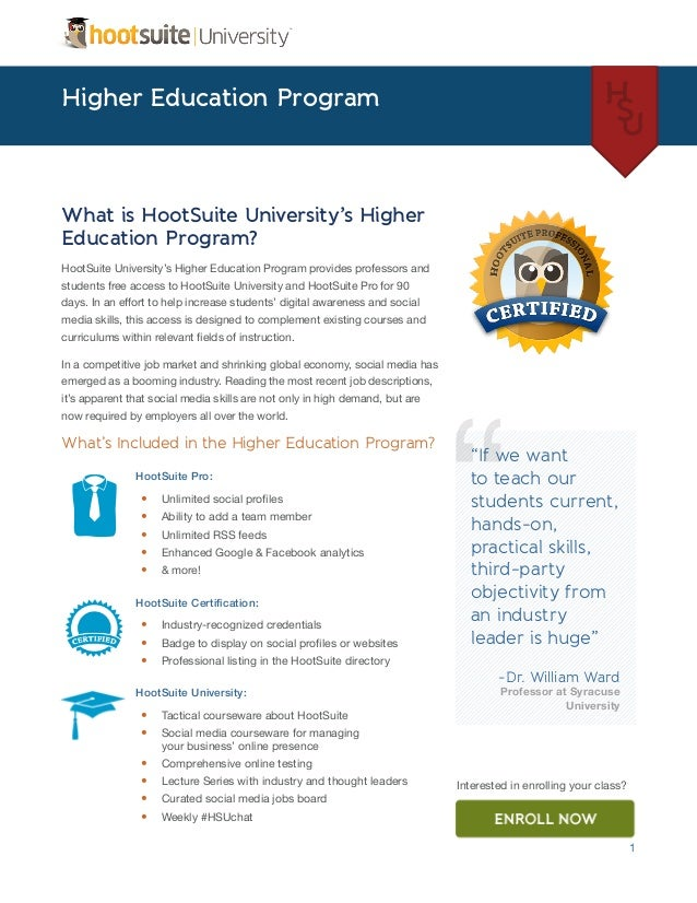 HootSuite University Higher Education Program